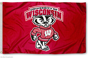 University of Wisconsin Badgers Flag UW Bucky Large 3x5