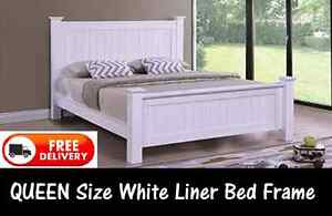 Queen Size WHITE Wooden Bed Frame BRAND NEW + FREE DELIVERY New Farm Brisbane North East Preview