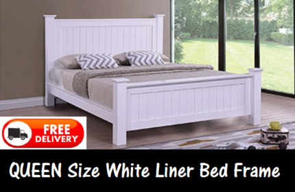 Queen Size WHITE Wooden Timber Bed Frame BRAND NEW FREE DELIVERY