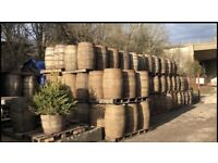 Whiskey barrels and half barrel planters in stock
