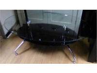 Modern Two Tone Clear and Black Glass shelf Oval Coffee table