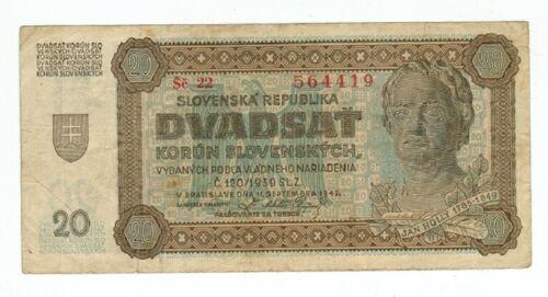 SLOVAKIA BANKNOTE 20 KORUN 1942