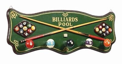 Wooden Billiard Pub Sign & Coat Rack 3D Art with FREE Shipping