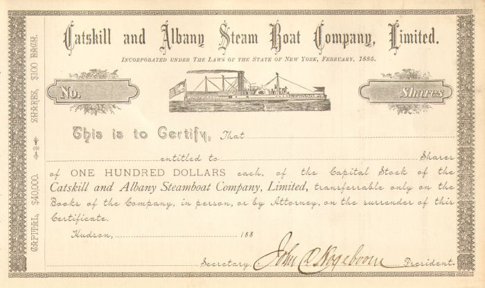 1885 Catskill and Albany Steam Boat Company > New York stock certificate share