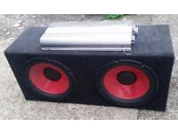"BARIO TECH 4 CHANNEL AMP and TWIN 12"" SUBS in a CASE £115"