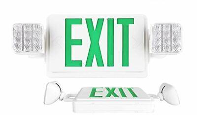 Green Led Exit Sign Light Emergency Light Combo Hardwire Battery Backup New