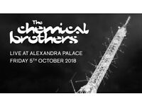 2 x Chemical Brothers tickets at Alexandra Palace on Friday 5th October