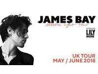 2x James Bay concert tickets - Cambridge 3 June 2018