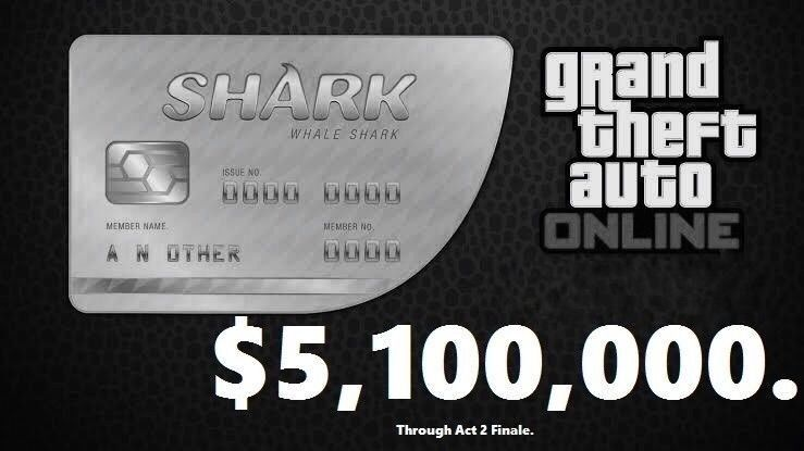 GTA V SHARK CARD Xbox One Grand Theft Auto Online $5,000,000 (READ DESCRIPTION)