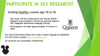 SEEKING WOMEN AGES 18 TO 50 FOR SEXUALITY RESEARCH-COMPENSATION