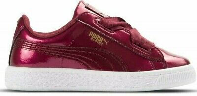 Childrens Girls Kids Puma Basket Heart Glam Ribbon Laces Trainers Shoes Size