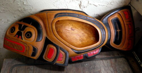Vintage West Coast First Nations SALMON Cedar Carving