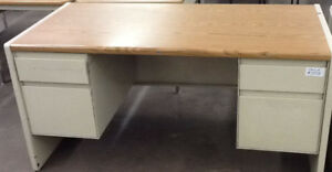 "Steelcase HD 30""x70"" steel & laminate double pedestal desk"