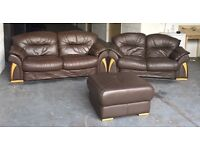 Huge 3&2 Seater and Huge Footstool Thick Brown Leather Sofa Set .WE DELIVER