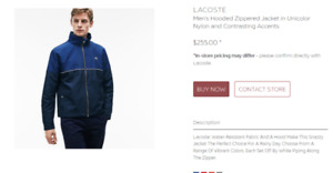 Lacoste Men's Hooded Zippered Jacket in Unicolor Nylon