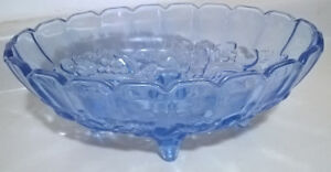Vintage Indiana Glass Harvest Grape Design Light Blue Bowl
