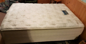 Double mattress, box spring and frame.