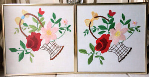 Homemade Embroidery Wall Picture Frame (Pair - 2 pcs) - $10 each