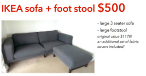 IKEA SOFA + foot stool + additional set of fabric cover!