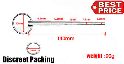 Hot Through-hole Stainless Steel Urethral Dilator Sound Penis Plug 140mm W Ring