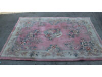 LARGE 9FT X 6FT Thick Pile Hand Carved Wool RUG Pink - flooring carpet
