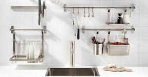 IKEA GRUNDTAL SERIES kitchen shelf, rail with hanging containers