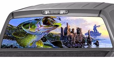BASS seabass FISHING fish Rear Window Graphic Decal Tint Sticker Truck perf hunt ()