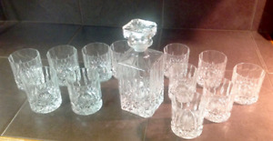Whisky decanter and glasses.