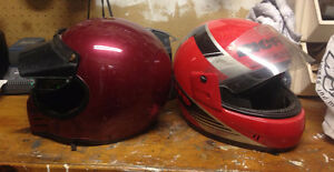 Two helmets, price is each! The red full face is sold!