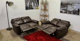 Italian Leather 2x2 Seater Manual Recliner Sofa Set