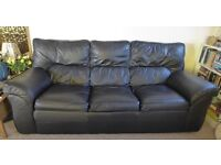 Leather sofa 3 seater and a single arm chair