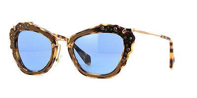 Miu Miu SMU04Q DHF0A2 Gold Marble Frame Blue Lens 55MM Sunglasses