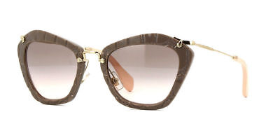 Miu Miu Sunglasses MU10NS USY4K0 Beige Plastic Cat-Eye Grey Gradient Lens