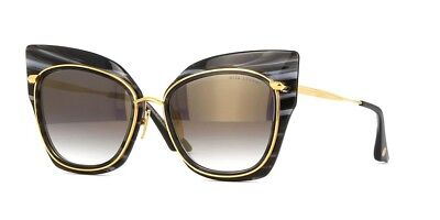 DITA STORMY 22033-A Smoke Black Gold Crystal Swirl 18K Sunglasses Gold Mirror