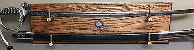 Marine Corps Sword Holder Display with Coin and 5.56 rounds