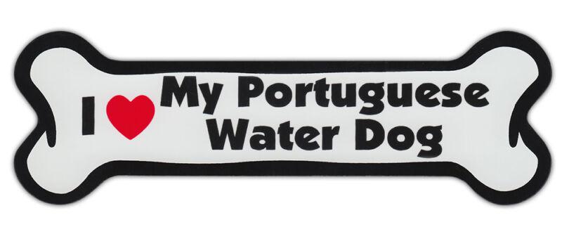 Dog Bone Shaped Car Magnets: I LOVE MY PORTUGUESE WATER DOG