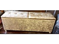Large double lidded blanket box seat in champagne gold crushed velvet