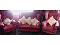 Beautiful dusky pink Queen Anne 2 seater sofa and 2 chairs
