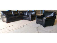 Genuine Leather Salisbury Corner Sofa And Chair - Black.