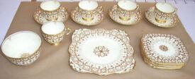 Plant Tuscan Bone China Tea Cups Saucer Side Plate Ivory Cream & Gilt