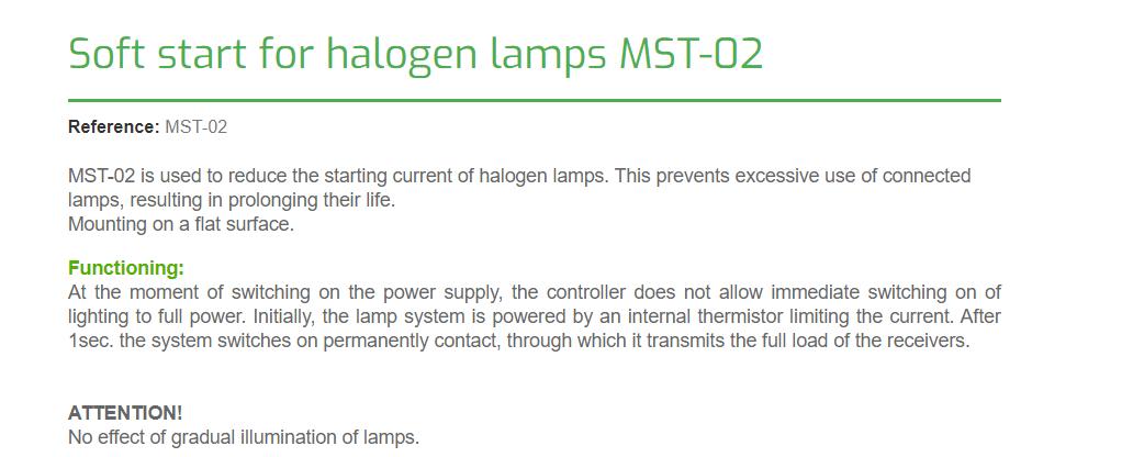 F/&F MST-02 Softstarter Begrenzer Sanftanlauf Anlaufstrombegrenzer Halogen Lampe