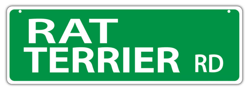 Plastic Street Signs: RAT TERRIER ROAD   Dogs, Gifts, Decorations