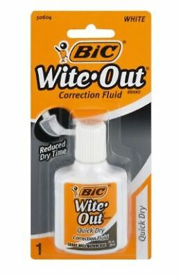 Bic Wite-out Quick Dry Correction Fluid 0.7 Fl.oz. Bottle - 2 Count - New