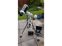 Telescope Skymax 150 and HEQ5 tripod with Skyscan Goto system and powerpack