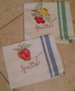 """From Italy - """"frutta"""" dish towels 100% cotton"""