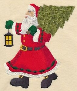 Bringing Home the Tree with Santa Embroidered Block St. John's Newfoundland image 1