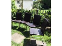 4 dining chairs (dark brown leather) in good condition