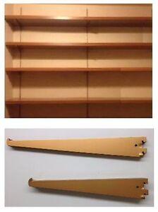 Wall shelves and shelf brackets
