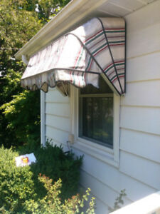 CANVAS AWNINGS ON ALUMINUM FRAMES