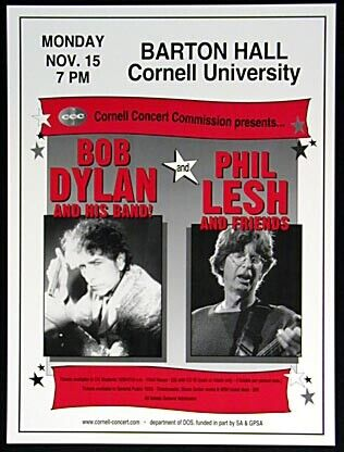Scarce Bob Dylan and  Phil Lesh Cornell Poster